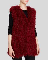 Maximilian Red Knitted Kalgan Lamb Vest - Bloomingdale's Exclusive