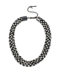 Kenneth Cole | Black Mesh Stone Collar Necklace | Lyst