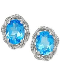Macy's | Blue Topaz (1-1/3 Ct. T.w.) And Diamond Accent Stud Earrings In Sterling Silver | Lyst