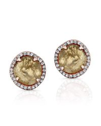Anne Sisteron | Metallic 14kt Rose Gold Diamond Slice Stud Earrings | Lyst