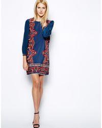 Aryn K. | Blue Long Sleeved Mini Silk Dress with Tie Back | Lyst