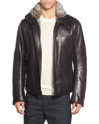 Andrew Marc Black Marc New York By 'flycroft' Leather Moto Jacket With Genuine Rabbit Fur Lining for men