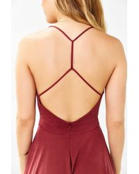 Silence + Noise Red Amie Cowl-neck Waisted Dress