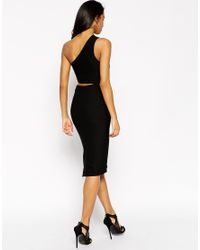 ASOS - Black Midi Textured Dress With Cut Out - Lyst
