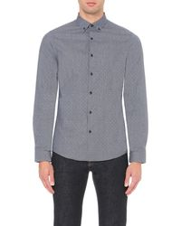 Michael Kors | Black Dobby-print Cotton Shirt - For Men for Men | Lyst