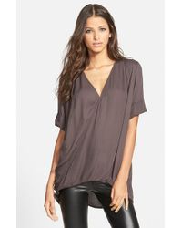 Leith Gray Relaxed Surplice Front Shirt