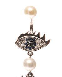 Delfina Delettrez - Metallic Diamond Sapphire Gold Single Earring - Lyst