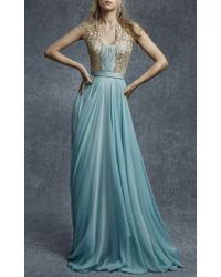 Reem Acra - Blue Embroidered Illusion Silk Chiffon Gown - Lyst