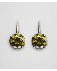 Bottega Veneta Green Earrings In Silver And Dark Assenzio Stones