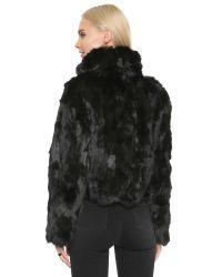 Adrienne Landau Rabbit Fur Jacket - Black