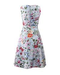 Oscar de la Renta Blue English Garden Mikado Dress