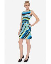 Tahari Blue Stripe Jersey Side Tie Dress
