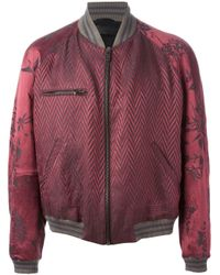 Haider Ackermann - Red Chevron And Floral Brocade Bomber Jacket for Men - Lyst