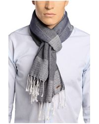 BOSS Orange - Blue Cotton Scarf 'nemor' for Men - Lyst