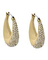 Michael Kors - Gray Golden Pave Hoop Earrings - Lyst