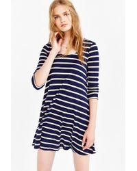 BDG Blue 3/4 Sleeve Swingy Tee Dress