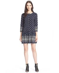 Burberry Brit | Blue Drop Waist Print Silk Dress | Lyst