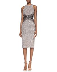 Pamella Roland - Gray Signature Sequin Ombre Sheath Dress - Lyst