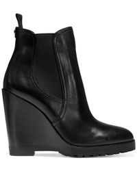 Michael Kors | Black Michael Thea Wedge Booties | Lyst