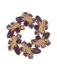 Carolee - Purple Goldtone Amethyst Crystal Wreath Pin - Lyst