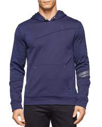 Calvin Klein | Blue Performance Fleece Hoodie for Men | Lyst