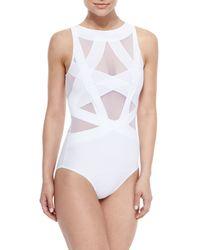 OYE Swimwear White Esther Strappy Mesh One-piece Swimsuit