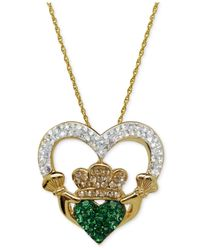 Macy's | Metallic Swarovski Crystal Claddagh Pendant Necklace In 18K Gold Over Sterling Silver | Lyst