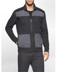 Calvin Klein - Black Classic Fit Faux Leather Trim Jacquard Zip Front Sweatshirt for Men - Lyst