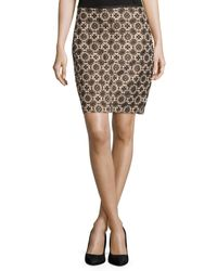 Max Studio Brown Mosaic Jacquard Skirt