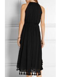 Apiece Apart - Black Lippard Tasseled Crinkled-chiffon Midi Dress - Lyst