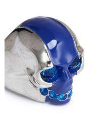Alexander McQueen - Blue Stripe Skull Ring - Lyst