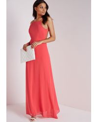 Missguided Pink Strappy Back Maxi Dress Coral