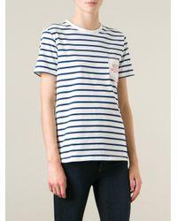 Être Cécile | Blue 'Boob Pocket' Striped T-Shirt | Lyst