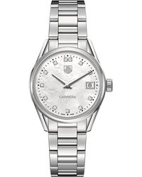 Tag Heuer - Gray War1314.Ba0773 Carrera Stainless Steel And Mother-Of-Pearl Watch - For Women for Men - Lyst