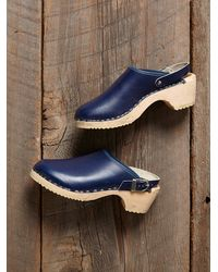Free People - Vintage Blue Wooden Clogs - Lyst