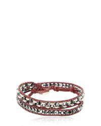 Colana - Metallic Leather Wrap Bracelet With Swarovski - Lyst