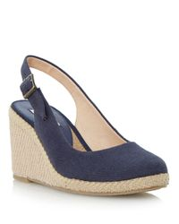 Dune | Blue Karley Canvas Wedge Heeled Sandals | Lyst