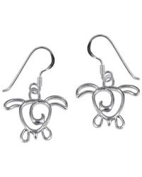 Aeravida | Metallic Cut Out Sea Turtle Tales .925 Sterling Silver Earrings | Lyst