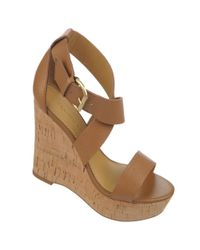 Franco Sarto - Brown Sitar Leather Wedge Sandals - Lyst