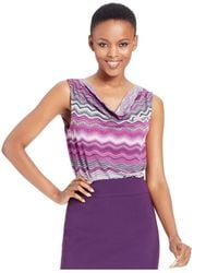Tahari | Purple Sleeveless Printed Drape-neck Top | Lyst