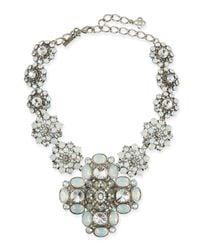Oscar de la Renta - Metallic Crystal Statement Necklace - Lyst