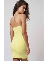 TOPSHOP Yellow Wrap Over Plunge Mini Dress By Rare