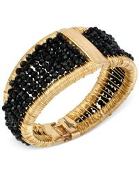 Kenneth Cole | Metallic Gold-tone Woven Black Bead Bangle Bracelet | Lyst