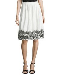 Elie Tahari - Black Sienna Gathered Skirt With Embroidered Hem - Lyst