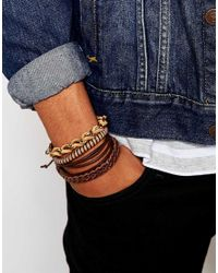 ASOS - Multi Beaded Bracelet Pack In Brown And Gold - Brown for Men - Lyst