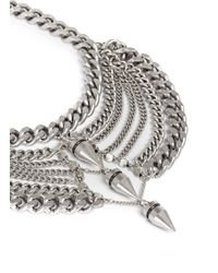 Ela Stone | Metallic 'saskia' Bullet Spike Plastron Chain Necklace | Lyst