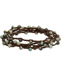 Feathered Soul - Metallic Pyrite Bead & Braided Silk Wrap Bracelet for Men - Lyst