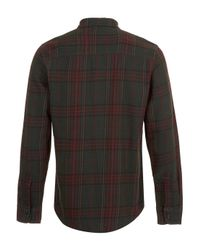 TOPMAN - Faded Green Tartan Long Sleeve Flannel Shirt for Men - Lyst