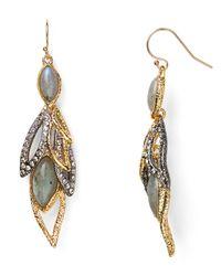 Alexis Bittar Metallic Elements Labradorite Dangling Wire Earrings