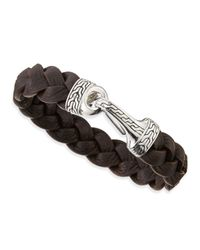 John Hardy | Brown Men's Classic Chain Leather Hook Bracelet for Men | Lyst